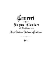 Konzert für zwei Cembali und Streicher Nr.1 in c-Moll, BWV 1060: Vollpartitur by Johann Sebastian Bach