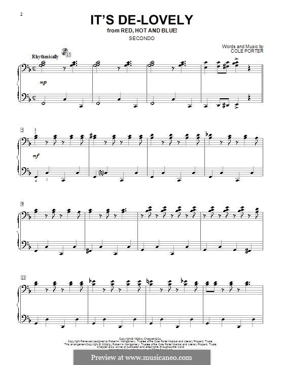 It's De-Lovely: Für Klavier, vierhändig by Cole Porter