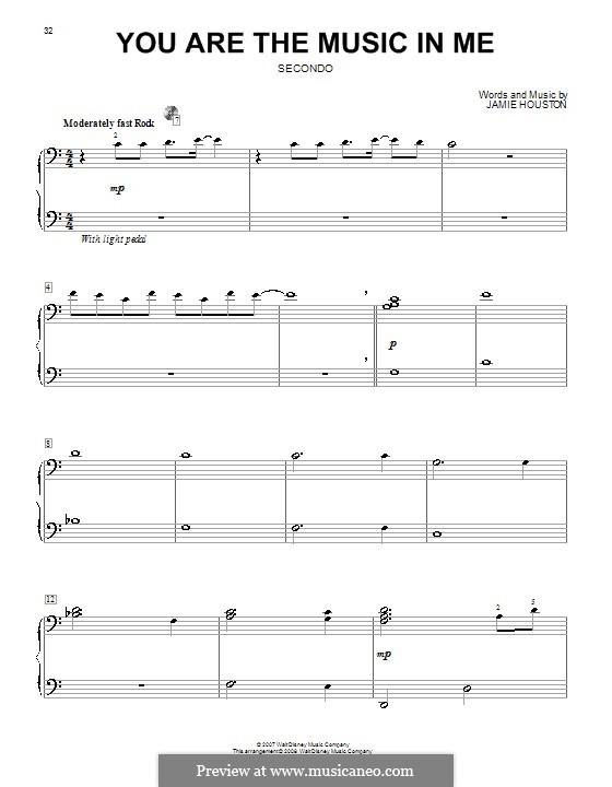 You are the Music in Me (High School Musical 2): Für Klavier, vierhändig by Jamie Houston