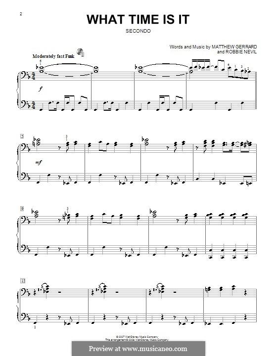 What Time Is It (from High School Musical 2): Für Klavier, vierhändig by Matthew Gerrard, Robbie Nevil