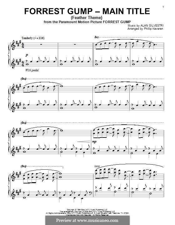 Forrest Gump Suite (Theme): Für Klavier (version by Keveren) by Alan Silvestri