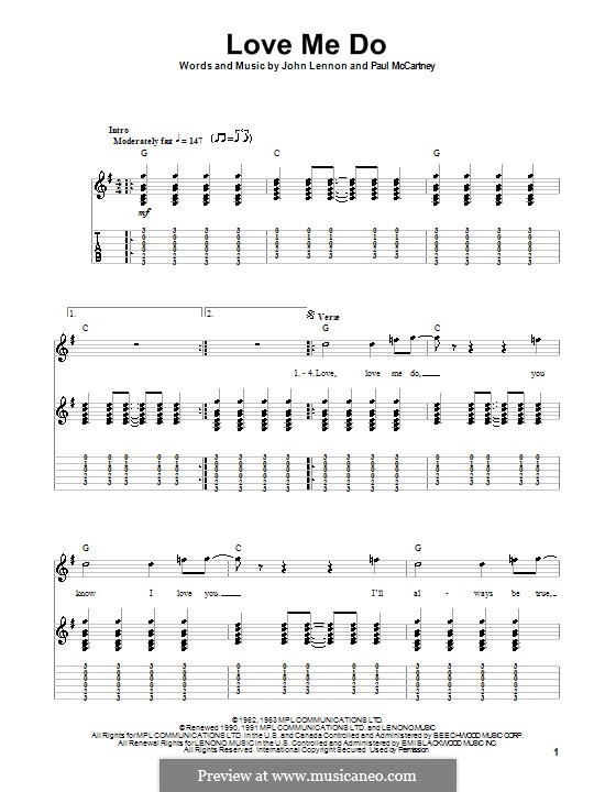 Love Me Do (The Beatles): Für Gitarre (mit Text) by John Lennon, Paul McCartney