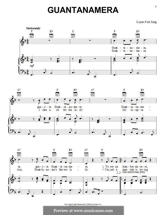 Guantanamera: Für Stimme und Klavier (oder Gitarre) by folklore
