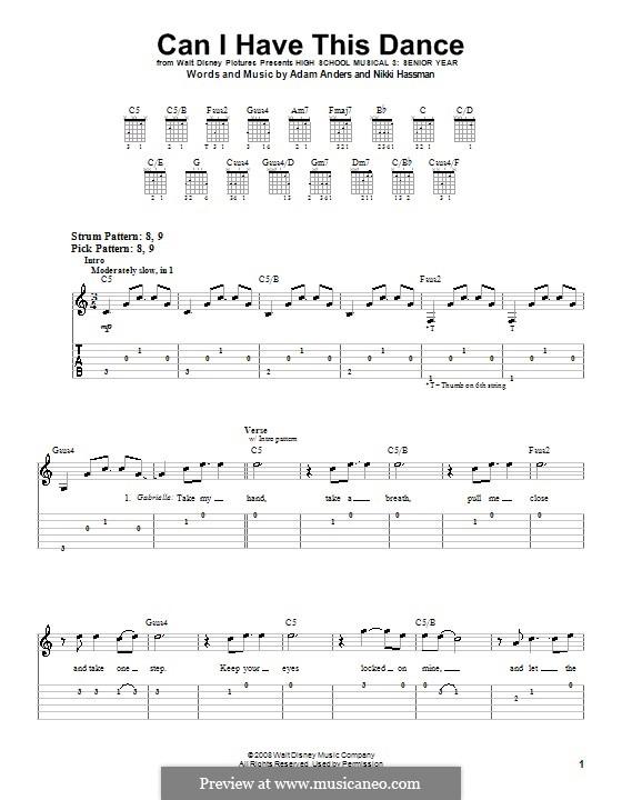 Can I Have This Dance (High School Musical 3): Für Gitarre (Sehr leichte Fassung) by Adam Anders, Nikki Hassman