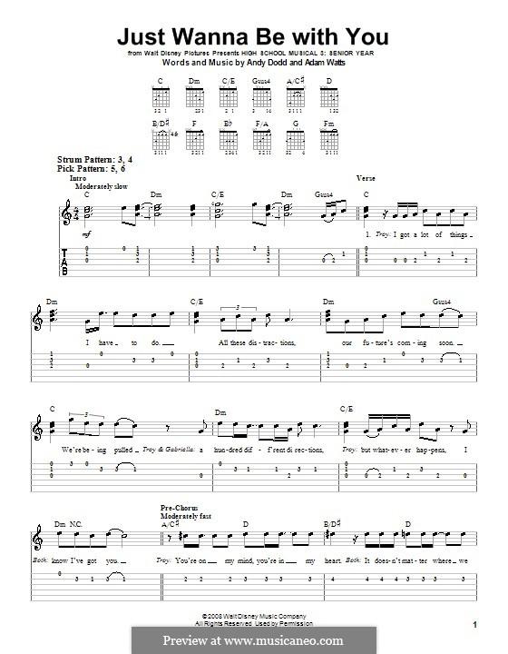 Just Wanna Be with You (High School Musical 3): Für Gitarre (Sehr leichte Fassung) by Adam Watts, Andrew Dodd