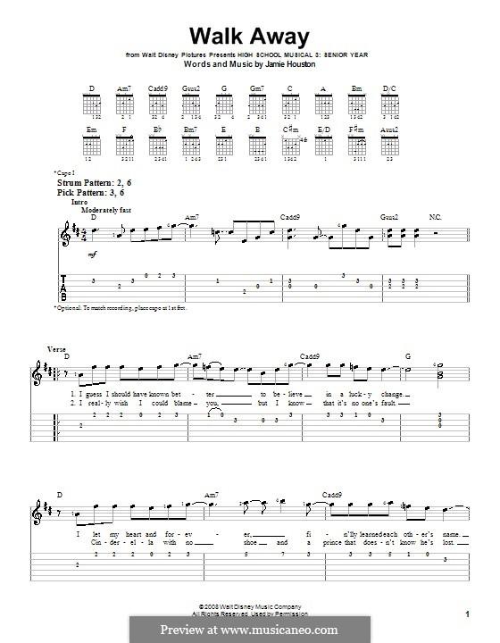 Walk Away (High School Musical 3): Für Gitarre (Sehr leichte Fassung) by Jamie Houston