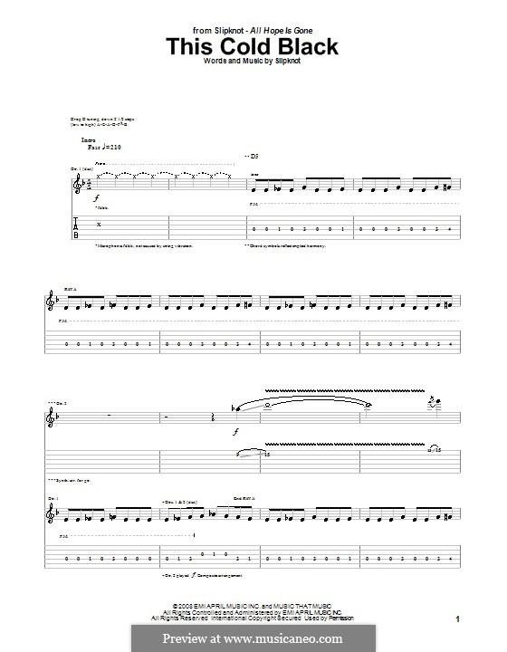 This Cold Black: Für Gitarre mit Tabulatur by Slipknot