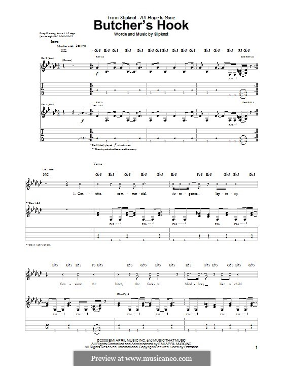 Butcher's Hook: Für Gitarre mit Tabulatur by Slipknot