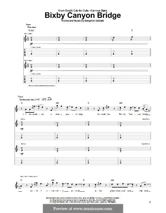 Bixby Canyon Bridge (Death Cab for Cutie): Für Gitarre mit Tabulatur by Benjamin Gibbard