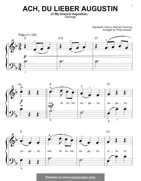 Ach du Lieber Augustin: Für Klavier (sehr leichte Fassung) by folklore