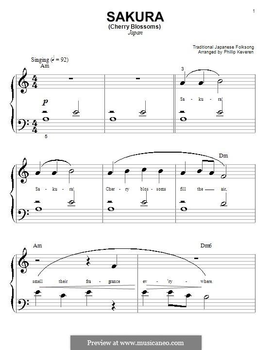 Sakura (Cherry Blossom): Für Klavier (sehr leichte Fassung) by folklore