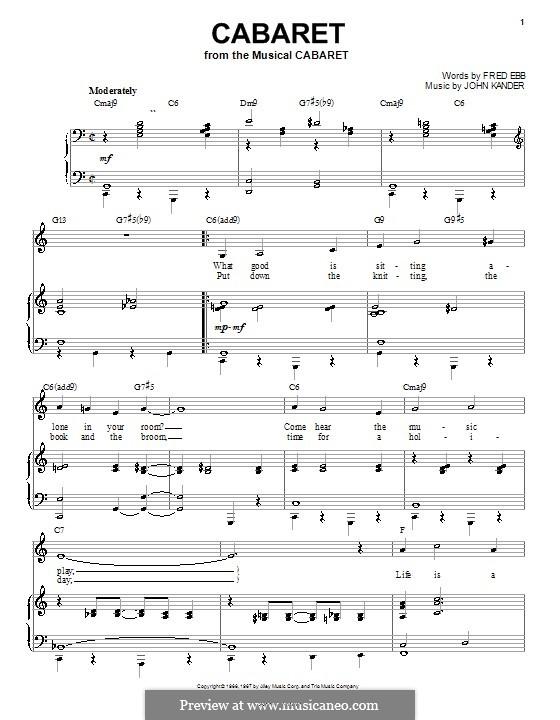 Cabaret (Liza Minnelli): Für Stimme und Klavier (oder Gitarre) by John Kander