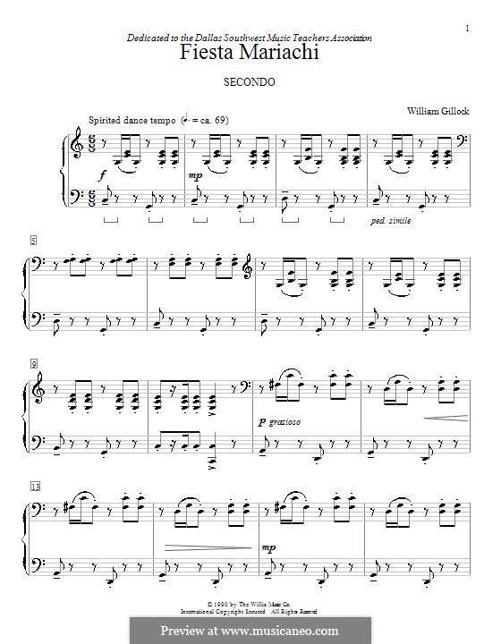 Fiesta Mariachi: Für Klavier, vierhändig by William Gillock
