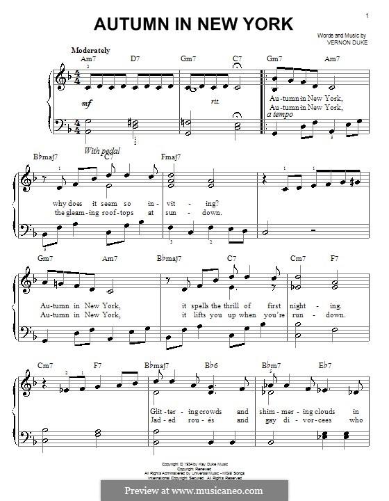 Autumn in New York: Für Klavier, leicht by Vernon Duke