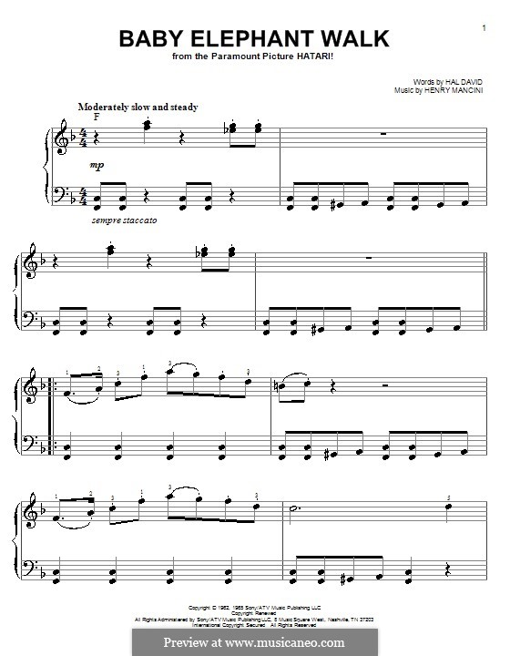 Baby Elephant Walk: Für Klavier, leicht by Henry Mancini