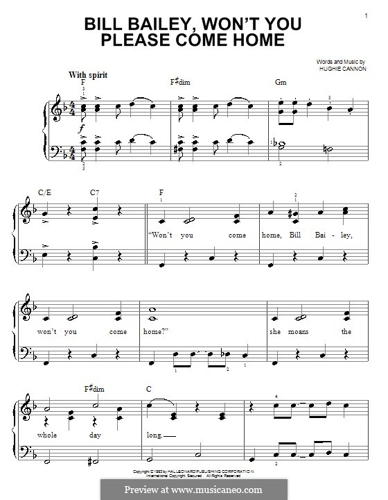 Bill Bailey, Won't You Please Come Home: Für Klavier, leicht by Hughie Cannon