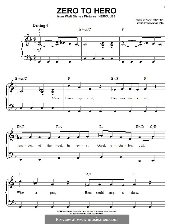 Zero to Hero (from Disney's Hercules): Einfache Noten für Klavier by Alan Menken