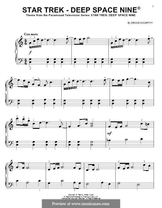 Star Trek - Deep Space Nine(R): Einfache Noten für Klavier by Dennis McCarthy
