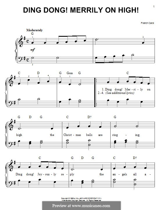 Ding Dong! Merrily on High (Printable Scores): Für Klavier, leicht by folklore