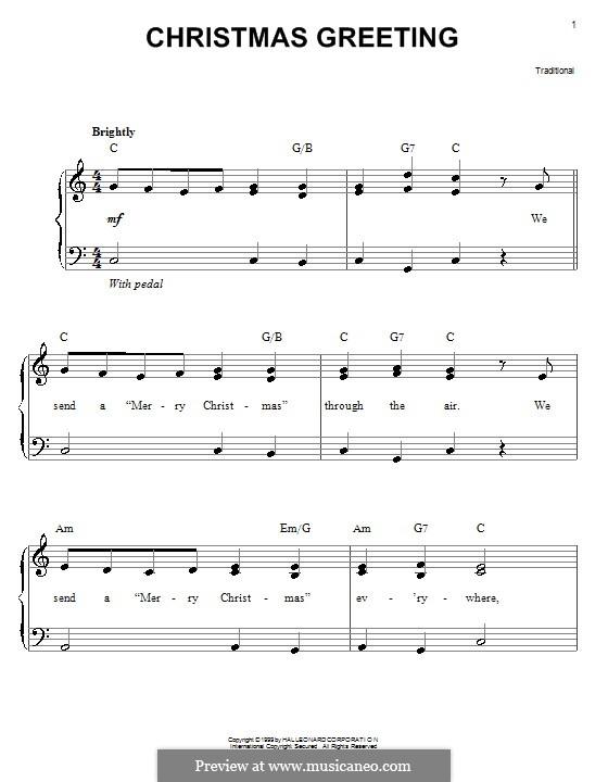 Christmas Greeting: Für Klavier, leicht by folklore