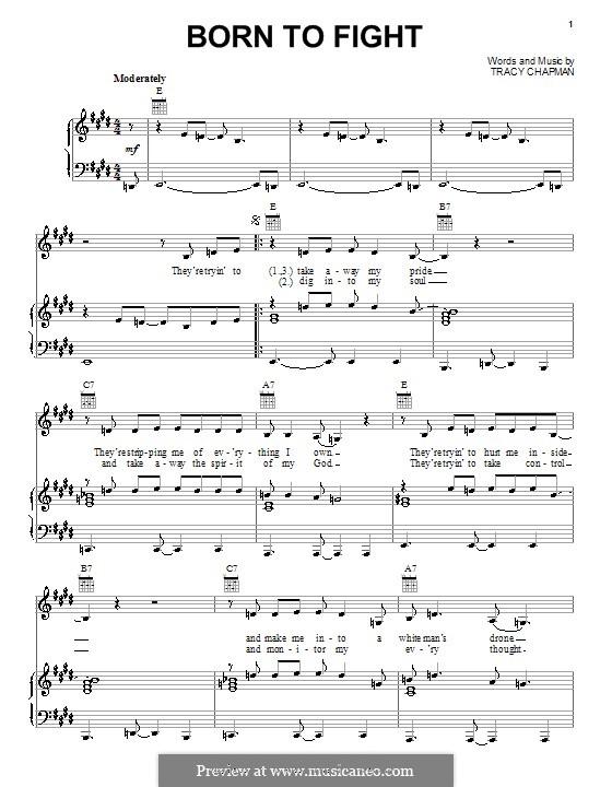 Born to Fight: Für Stimme und Klavier (oder Gitarre) by Tracy Chapman