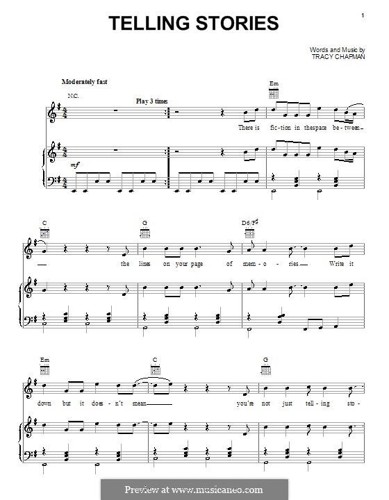 Telling Stories: Für Stimme und Klavier (oder Gitarre) by Tracy Chapman