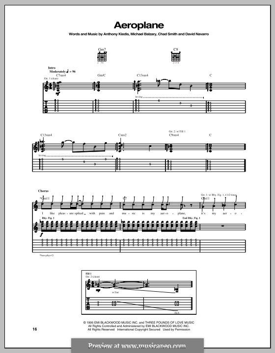Aeroplane (Red Hot Chili Peppers): Für Gitarre mit Tabulatur by Flea, Anthony Kiedis, Chad Smith, Dave Navarro