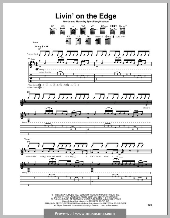 Livin' on the Edge (Aerosmith): Für Gitarre mit Tabulatur by Joe Perry, Mark Jeffrey Hudson, Steven Tyler