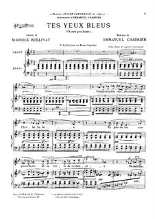 Tes yeux bleus : For baritone (or mezzo-soprano) by Emmanuel Chabrier