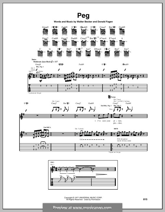Peg (Steely Dan): Für Gitarre mit Tabulatur by Donald Fagen, Walter Becker