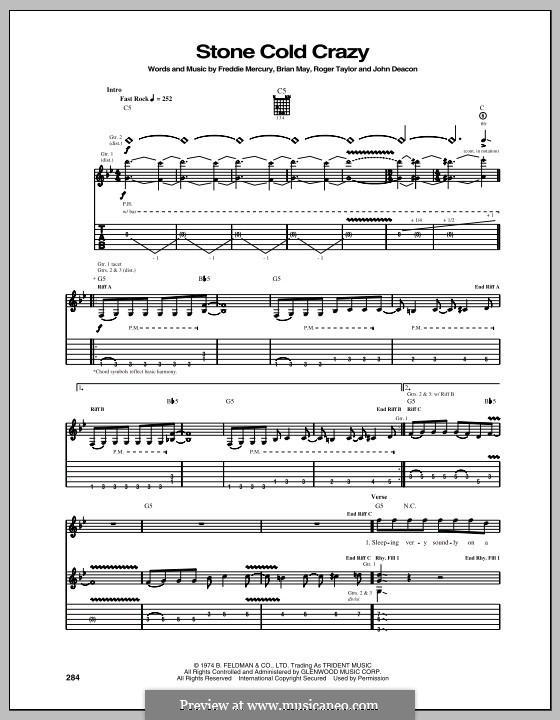 Stone Cold Crazy (Queen): Für Gitarre mit Tabulatur by Brian May, Freddie Mercury, John Deacon, Roger Taylor