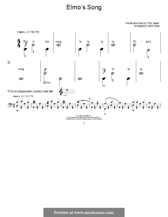Elmo's Song: Für Klavier by Tony Geiss