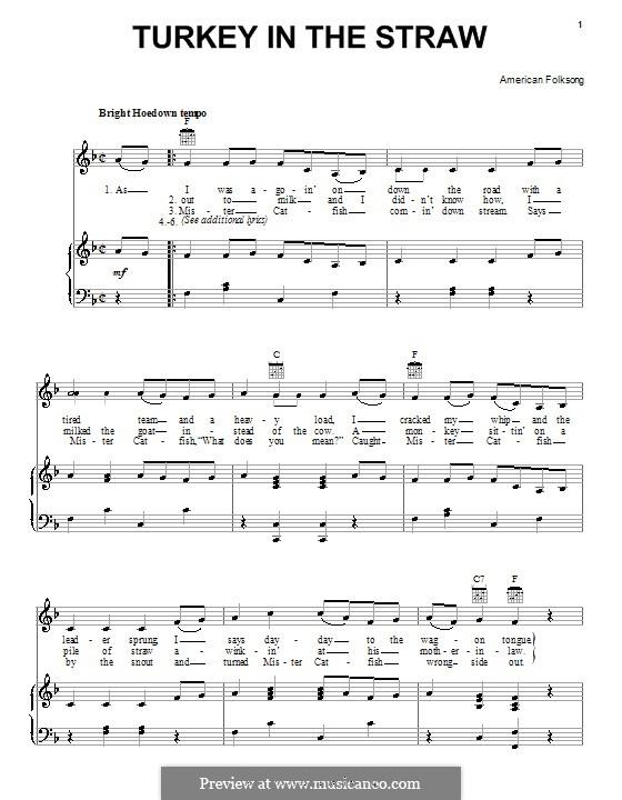 Turkey in the Straw: Für Stimme und Klavier (oder Gitarre) by folklore