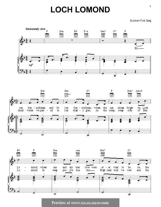 Loch Lomond: Für Stimme und Klavier (oder Gitarre) by folklore