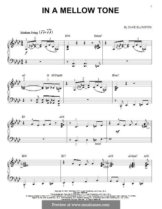 In a Mellow Tone: Für Klavier by Duke Ellington