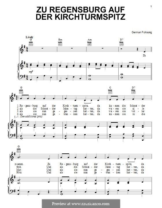Zu Regensburg auf der Kirchturmspitz: Für Stimme und Klavier (oder Gitarre) by folklore