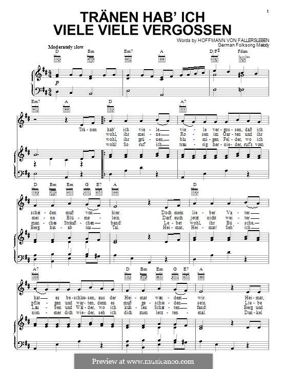 Tranen hab'ich viele viele vergossen: Für Stimme und Klavier (oder Gitarre) by folklore