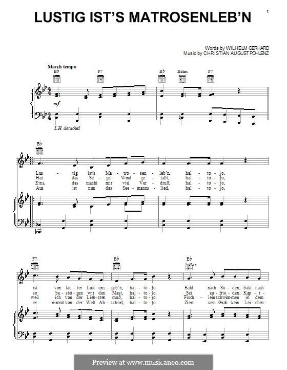 Lustig Ist's Matrosenleb'n: Für Stimme und Klavier (oder Gitarre) by Wilhelm Gerhard
