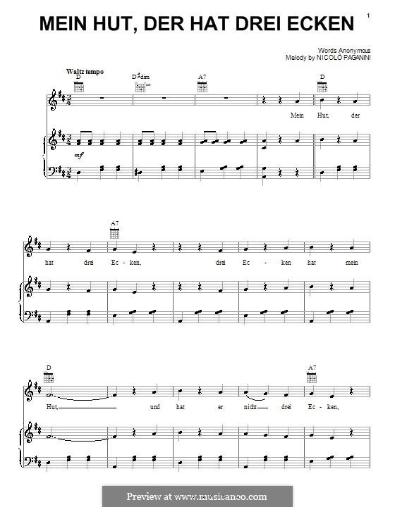 Mein Hut, der hat drei Ecken: Für Stimme und Klavier (oder Gitarre) by Niccolò Paganini
