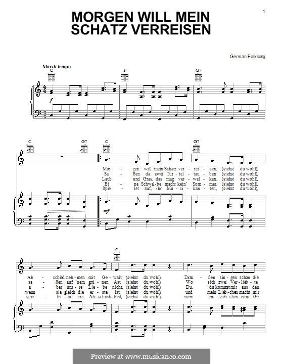 Morgen will mein schatz verreisen: Für Stimme und Klavier (oder Gitarre) by folklore