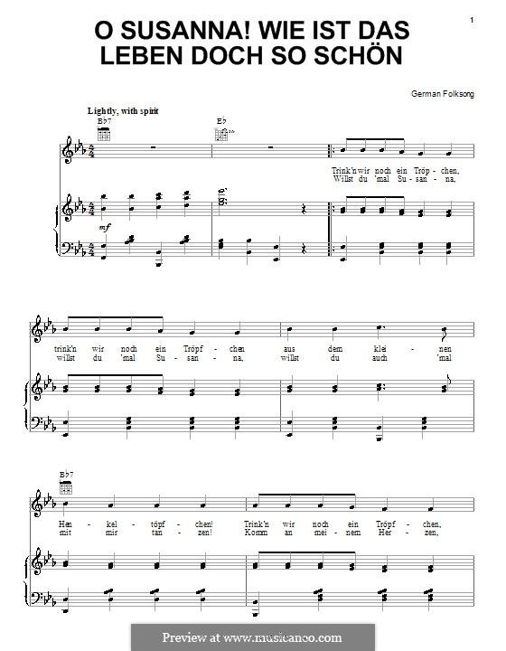 O Susanna! Wie ist das Leben so schön: Für Stimme und Klavier (oder Gitarre) by folklore