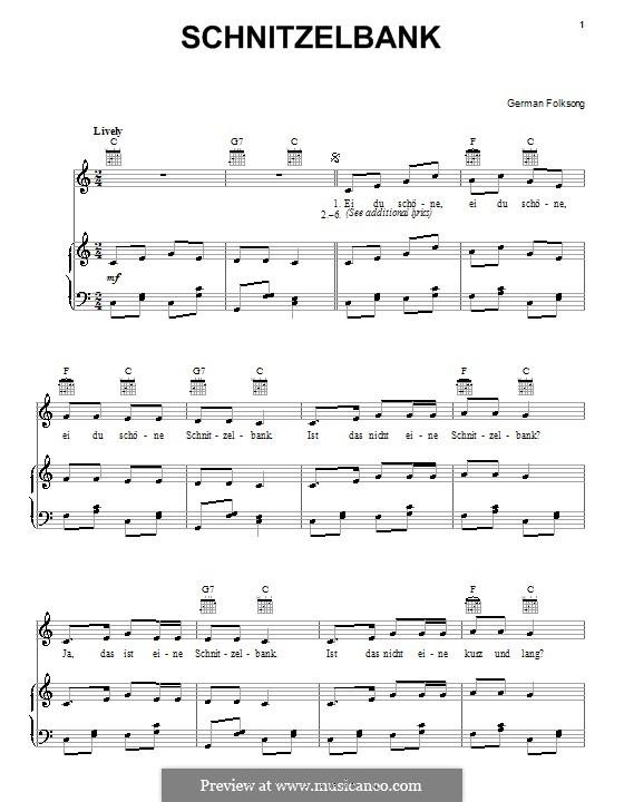 Schnitzelbank: Für Stimme und Klavier (oder Gitarre) by folklore