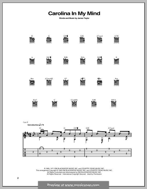 Carolina in My Mind: Für Gitarre mit Tab by James Taylor