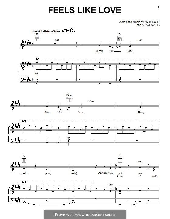 Feels Like Love (The Cheetah Girls): Für Stimme und Klavier (oder Gitarre) by Adam Watts, Andrew Dodd
