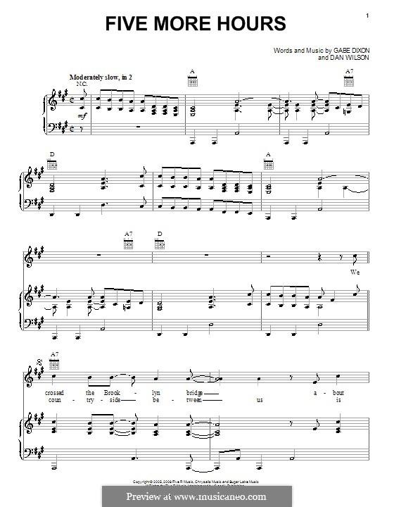 Five More Hours (The Gabe Dixon Band): Für Stimme und Klavier (oder Gitarre) by Daniel Wilson, Gabe Dixon