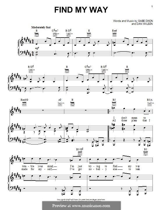 Find My Way (The Gabe Dixon Band): Für Stimme und Klavier (oder Gitarre) by Daniel Wilson, Gabe Dixon