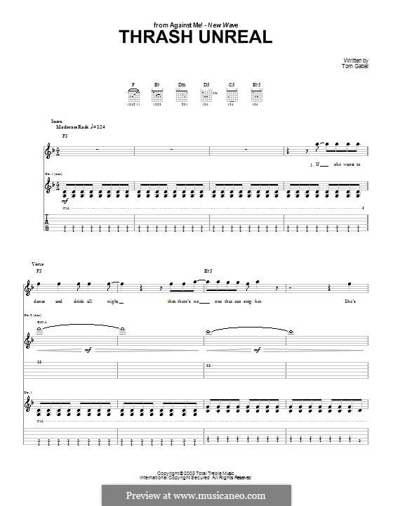 Thrash Unreal (Against Me!): Für Gitarre mit Tabulatur by Tom Gabel