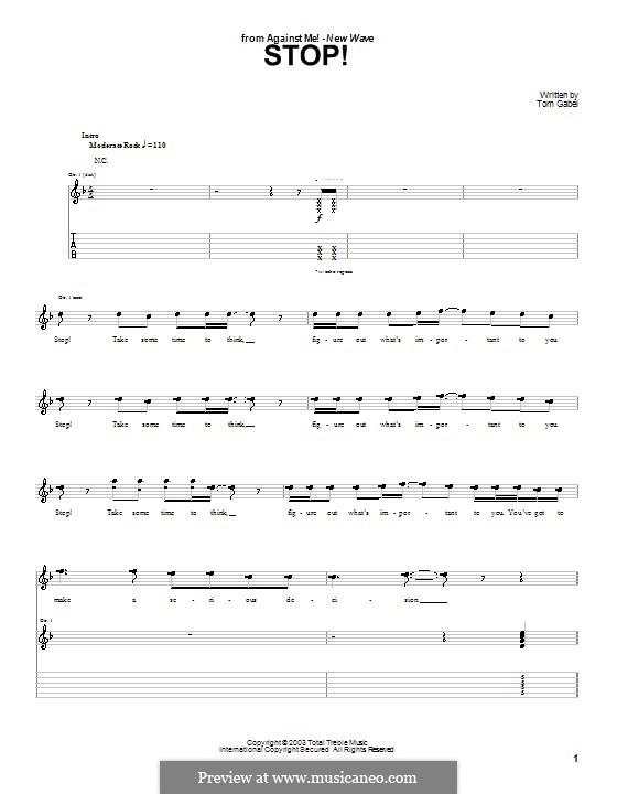Stop! (Against Me!): Für Gitarre mit Tabulatur by Tom Gabel