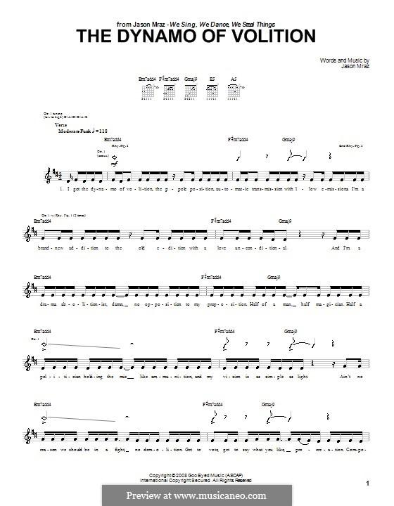 The Dynamo of Volition: Für Gitarre mit Tab by Jason Mraz