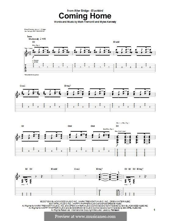 Coming Home (Alter Bridge): Für Gitarre mit Tabulatur by Mark Tremonti, Myles Kennedy